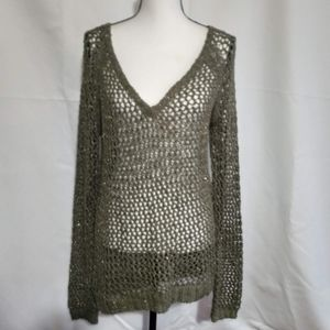 Green Sweater with Golden Crocheted Throughout